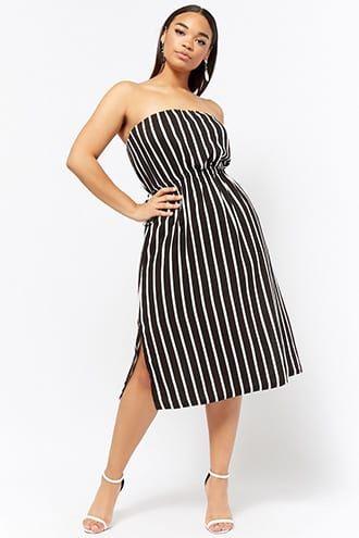 b71fb42da6 Plus Size Striped Strapless Dress in 2019