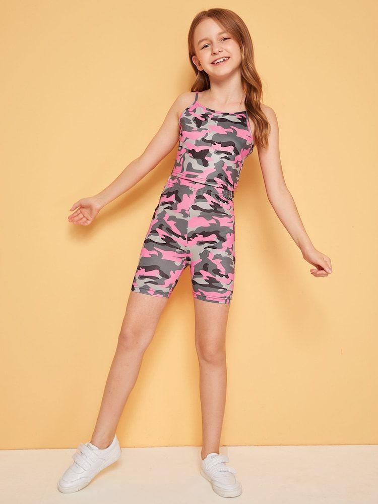 Girls camo print cami crop top cycling shorts set camo