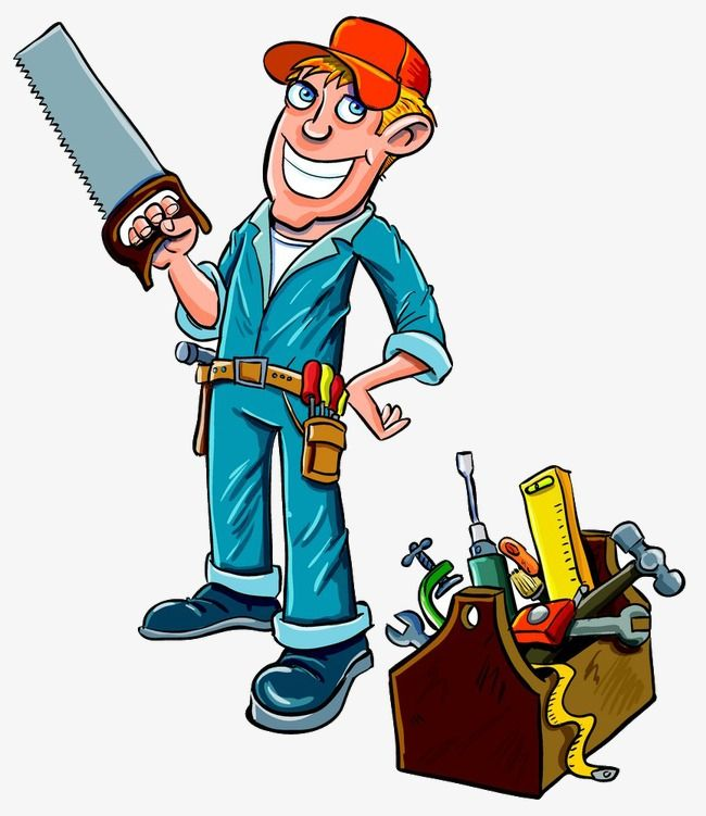 Constraction Worker Carpenter Cartoon Illustration Of A