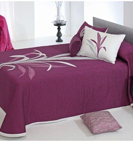 couvre lit tiss jacquard rversible lynette violet - Couvre Lit Violet