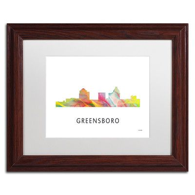 "Trademark Art ""Greensboro NC Skyline WB-1"" by Marlene Watson Framed Graphic Art Size: 1"