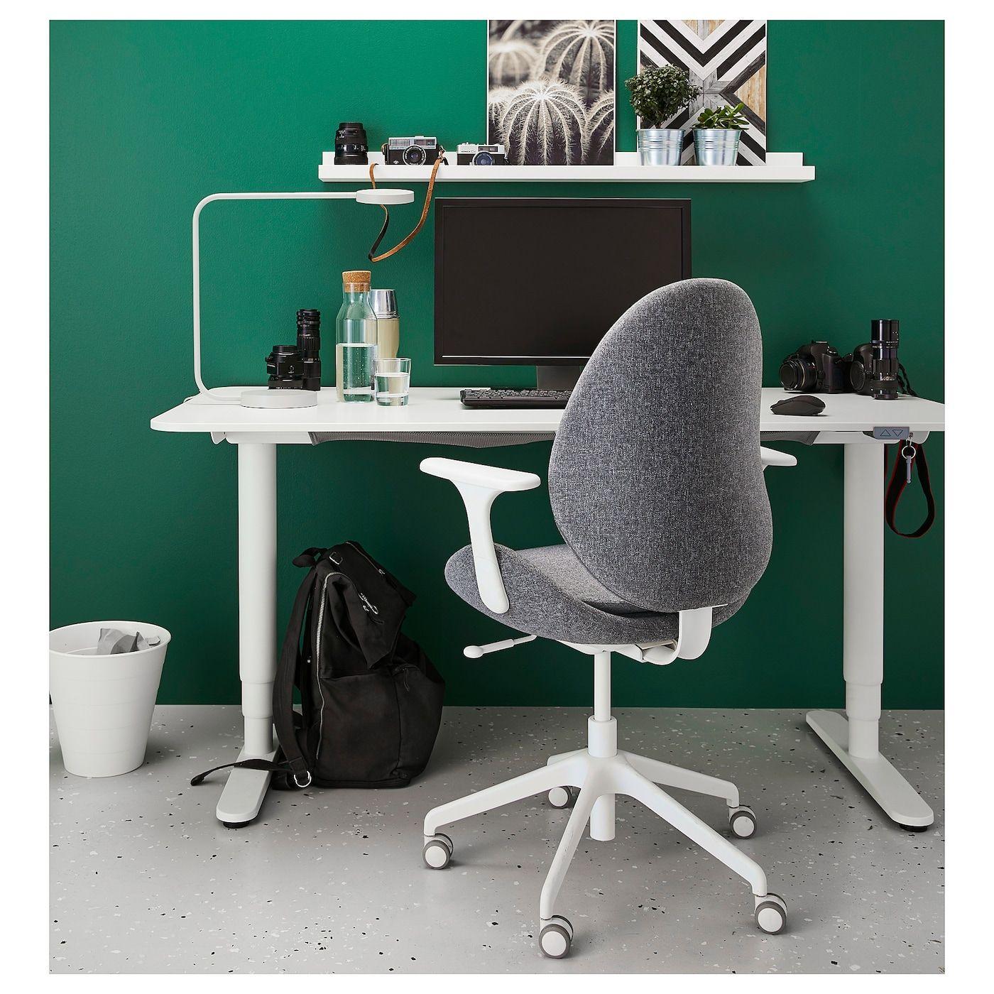 HATTEFJÄLL Office chair with armrests Gunnared medium gray