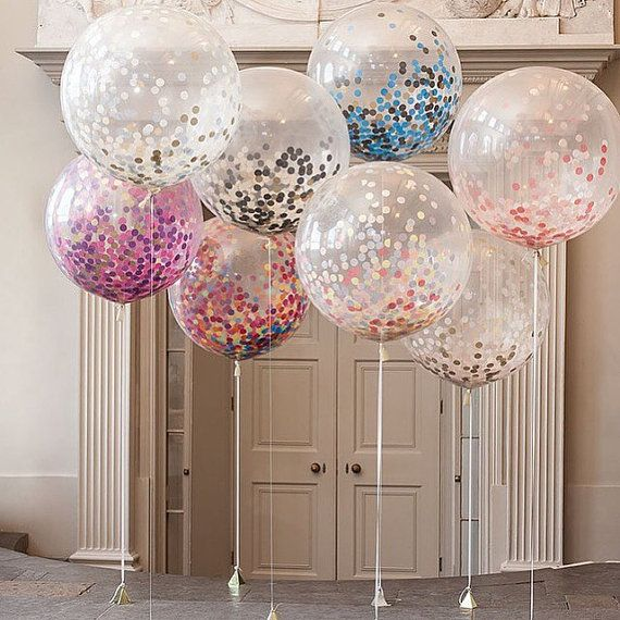 36 Inch Jumbo Confetti Filled Clear Balloon For Events. Bridal Showers. Baby  Shower.