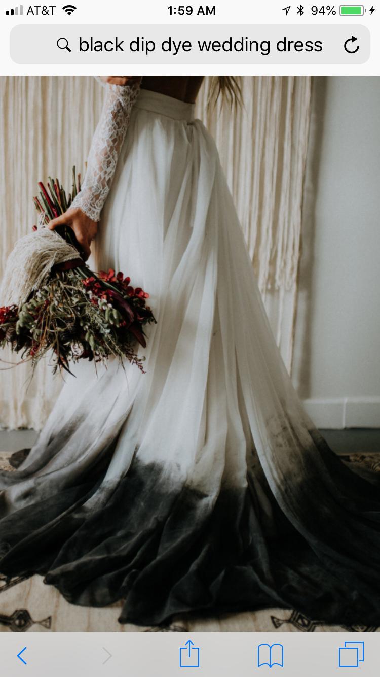 Dip Dyed In Black Ink Dye Wedding Dress Dip Dye Wedding Dress