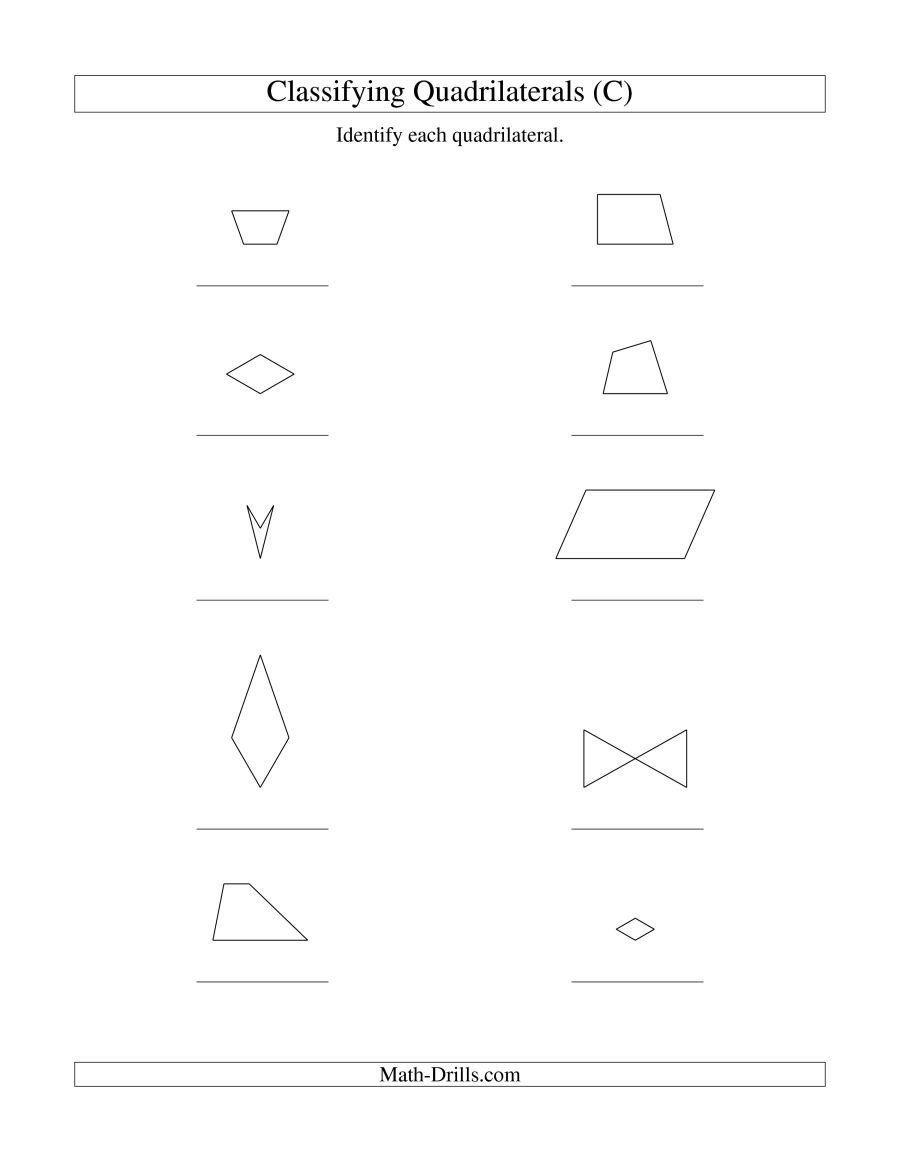 The Classifying Quadrilaterals No Rotation C Math Worksheet From