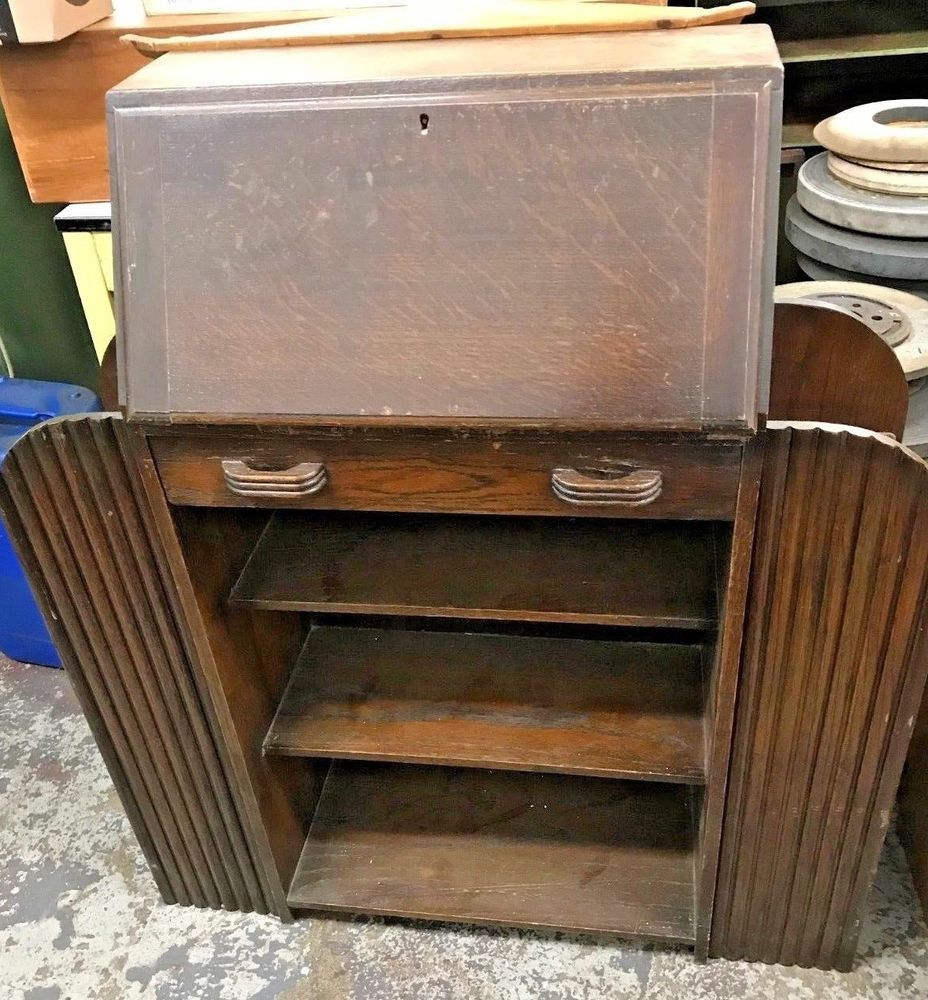 Art Deco 1930 Small Drop Down Front Writing Desk With Shelves Very