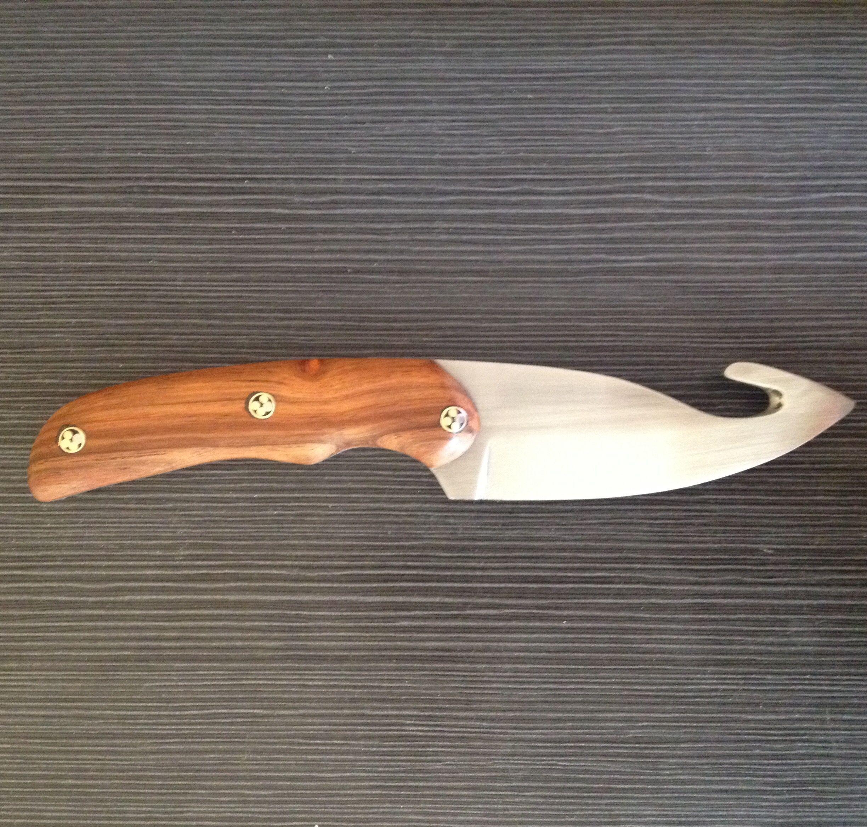 Skinning Knife With Gut Hook Zambezi Teak Handle Teak Handle Knife Skinning Knife