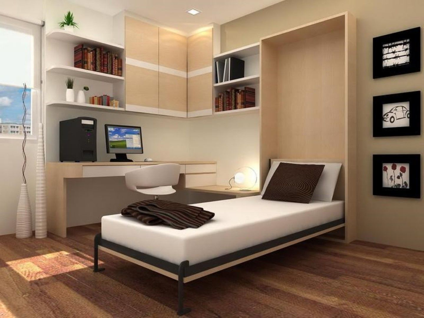 Statue of Comfortable Bedroom Design with Murphy Bed Kit