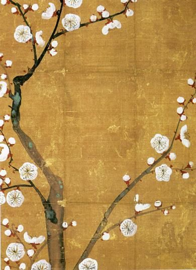 """Ogata Korin """"Incense Wrapper Decorated with White Plum Blossoms"""""""