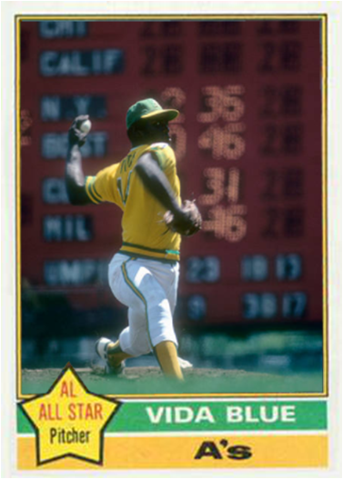 Vida Blue Oakland As My Custom Baseball Cards Baseball