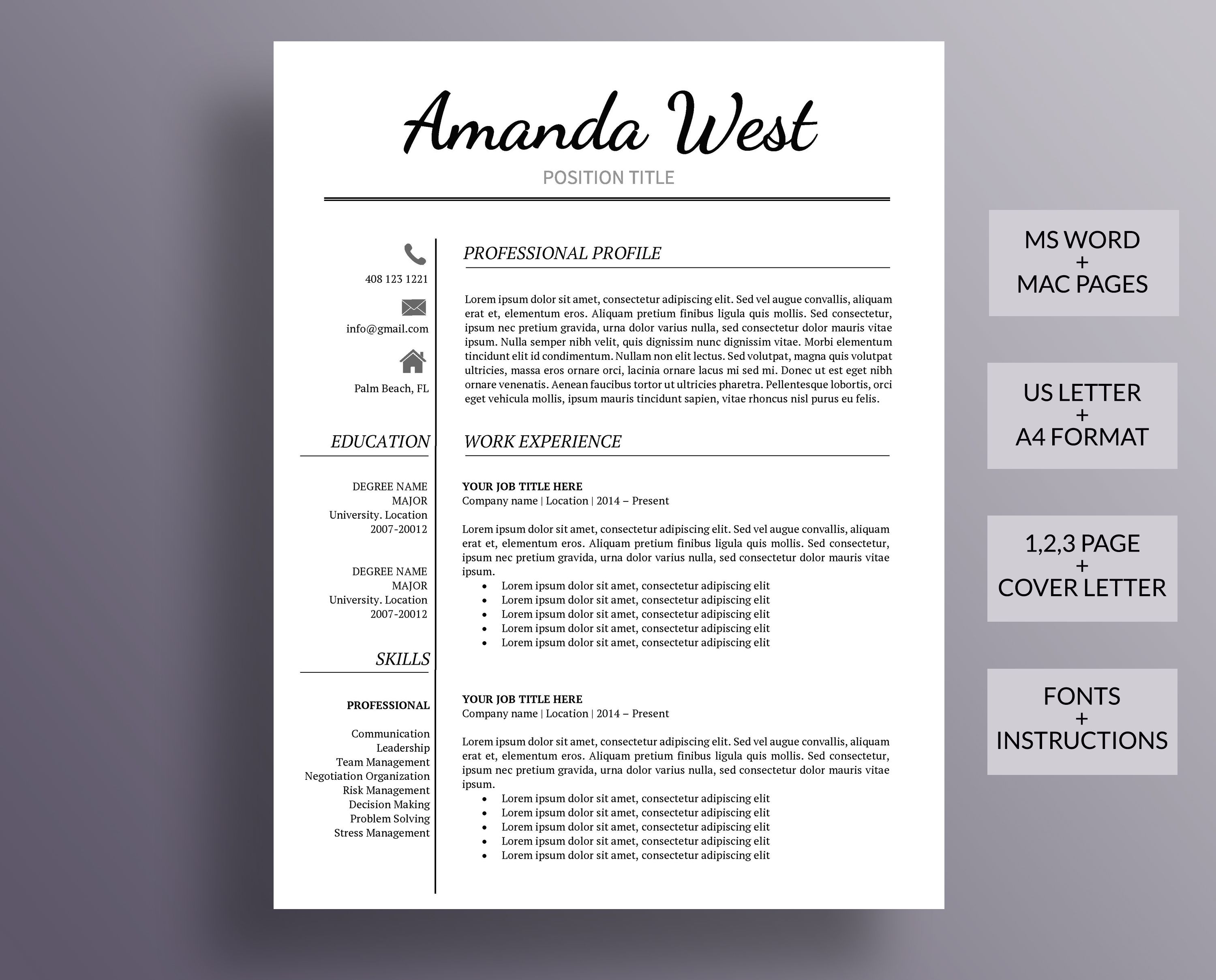 Resume Template, Modern Resume Template, Professional Resume ...