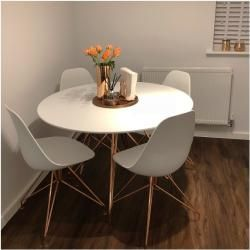 Moda Cd1 Esstisch, Metall Beine, Weiß und Chrom 110cm Bein und Klammer: Chrom Cult Furniture
