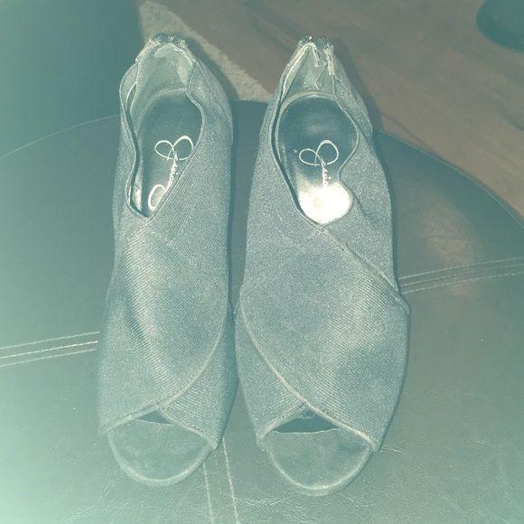 Jessica Simpson Bootie Jessica Simpson, peep toe Bootie, black suede - size 7.5 / excellent condition Jessica Simpson Shoes Ankle Boots & Booties