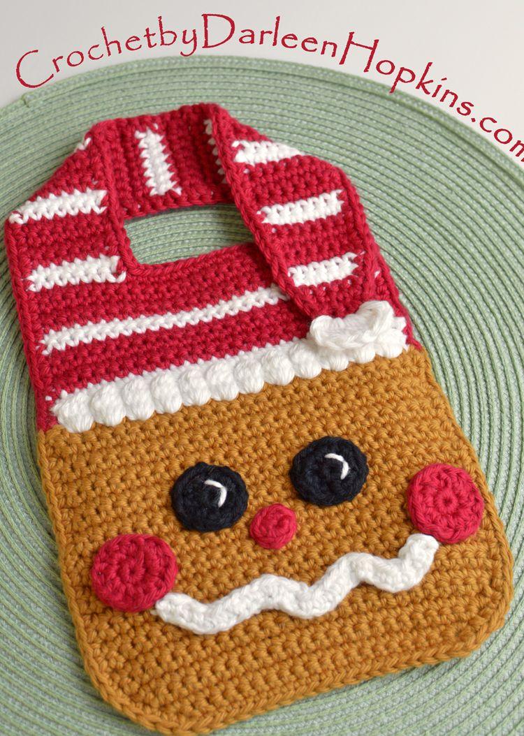 Gingerbread Baby Bib crochet pattern by Darleen Hopkins #CbyDH ...