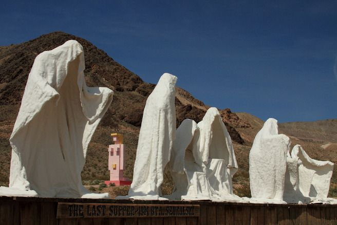 This is actually in the ghost town of rhyolite near for Garden statues las vegas nv