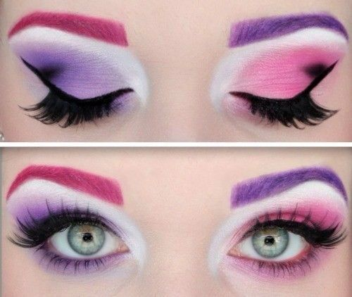 Pink and blue make up