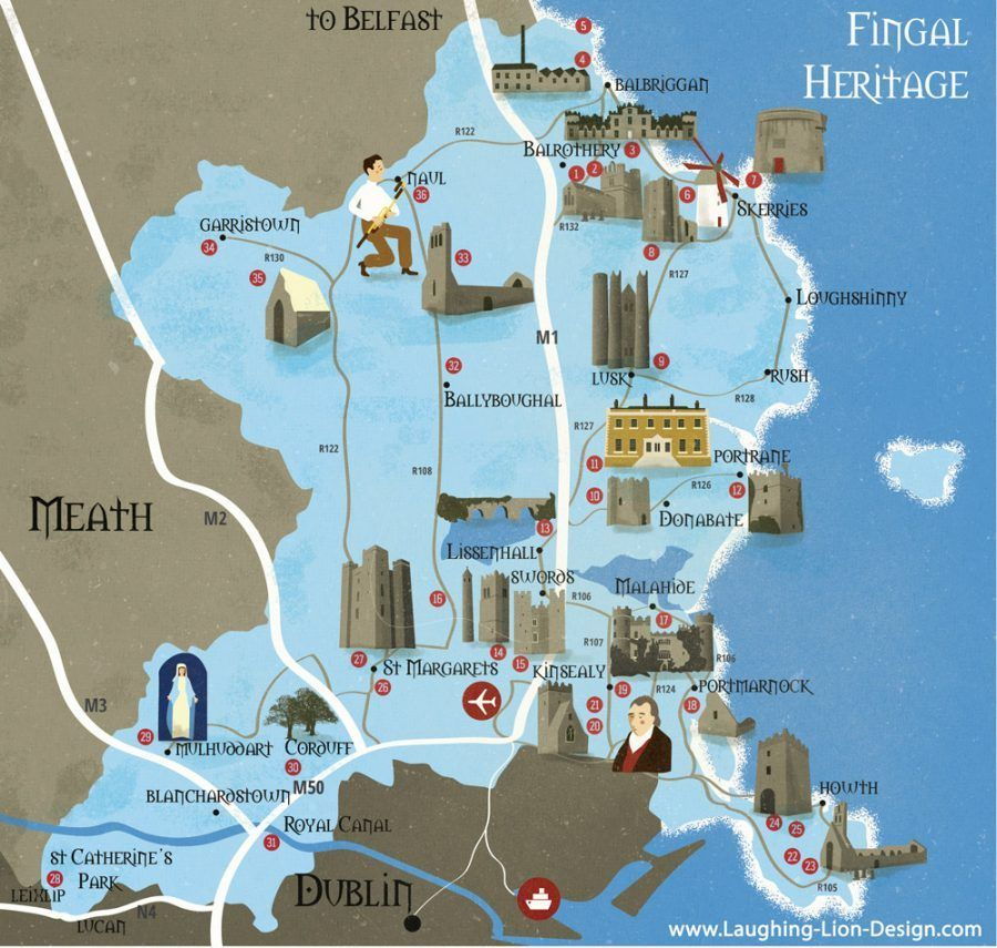 Map Of Ireland Heritage Sites.Map Of Heritage Sites In Fingal Ireland Illustrated By Jennifer