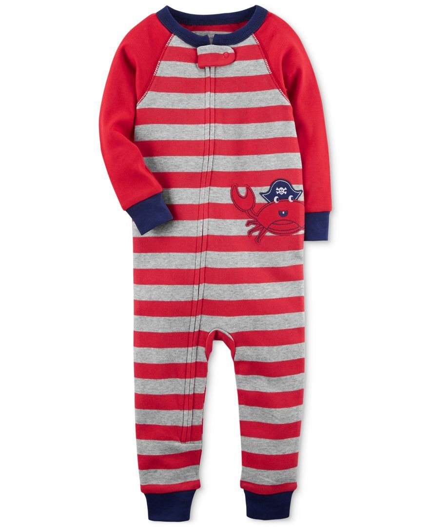 ee2ac37f6f2e A crab applique adds a fun touch to Carter s footless pajamas ...