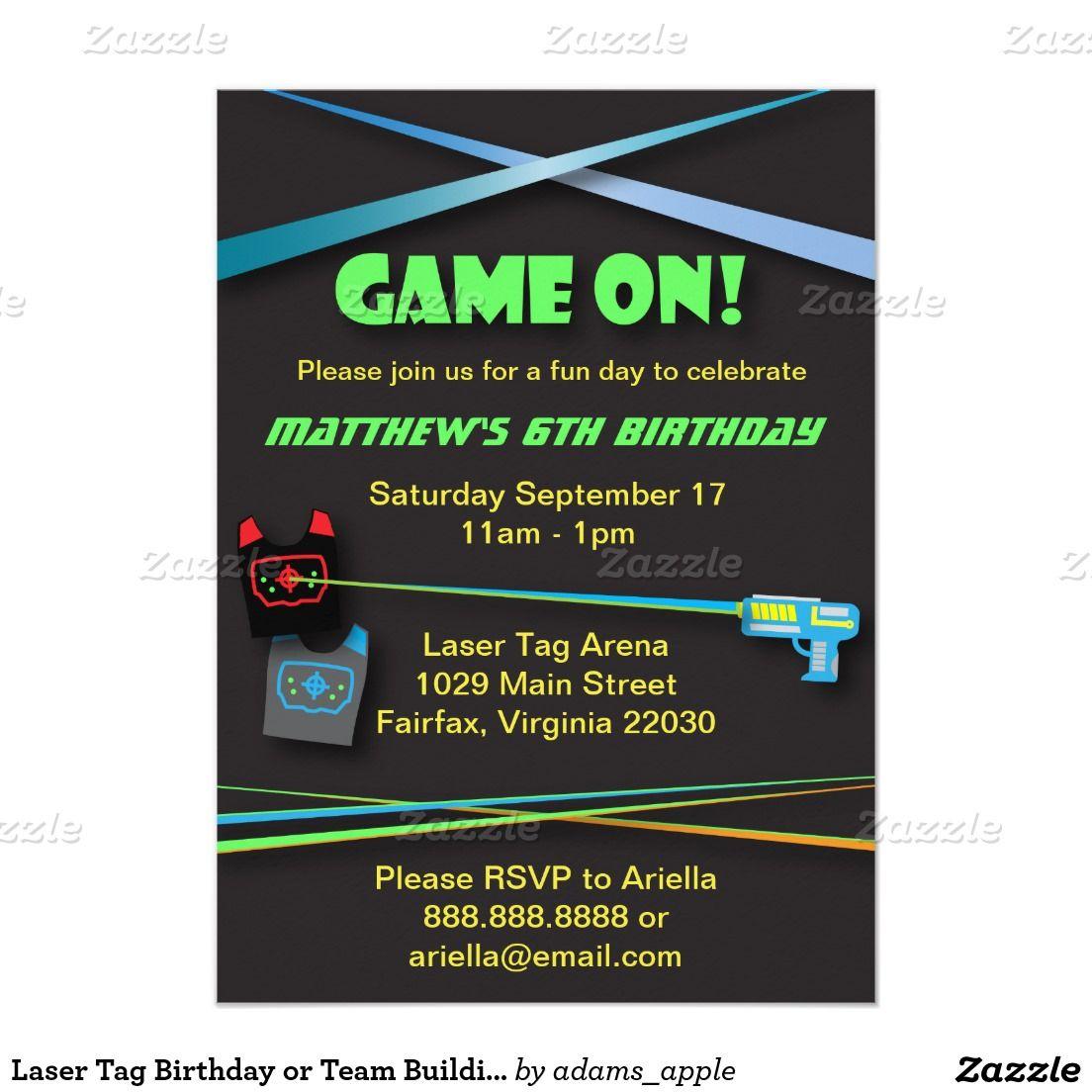 Laser Tag Birthday or Team Building Party Card Laser tag birthday