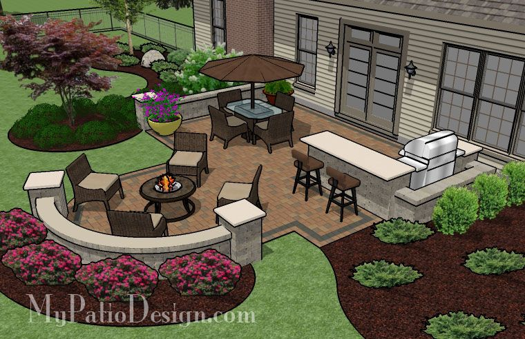Patio and fire pit ideas with integrated seating patio for Backyard entertainment ideas
