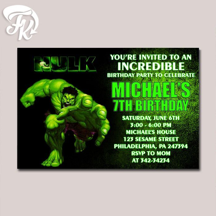 The Incredible Hulk Birthday Party Card