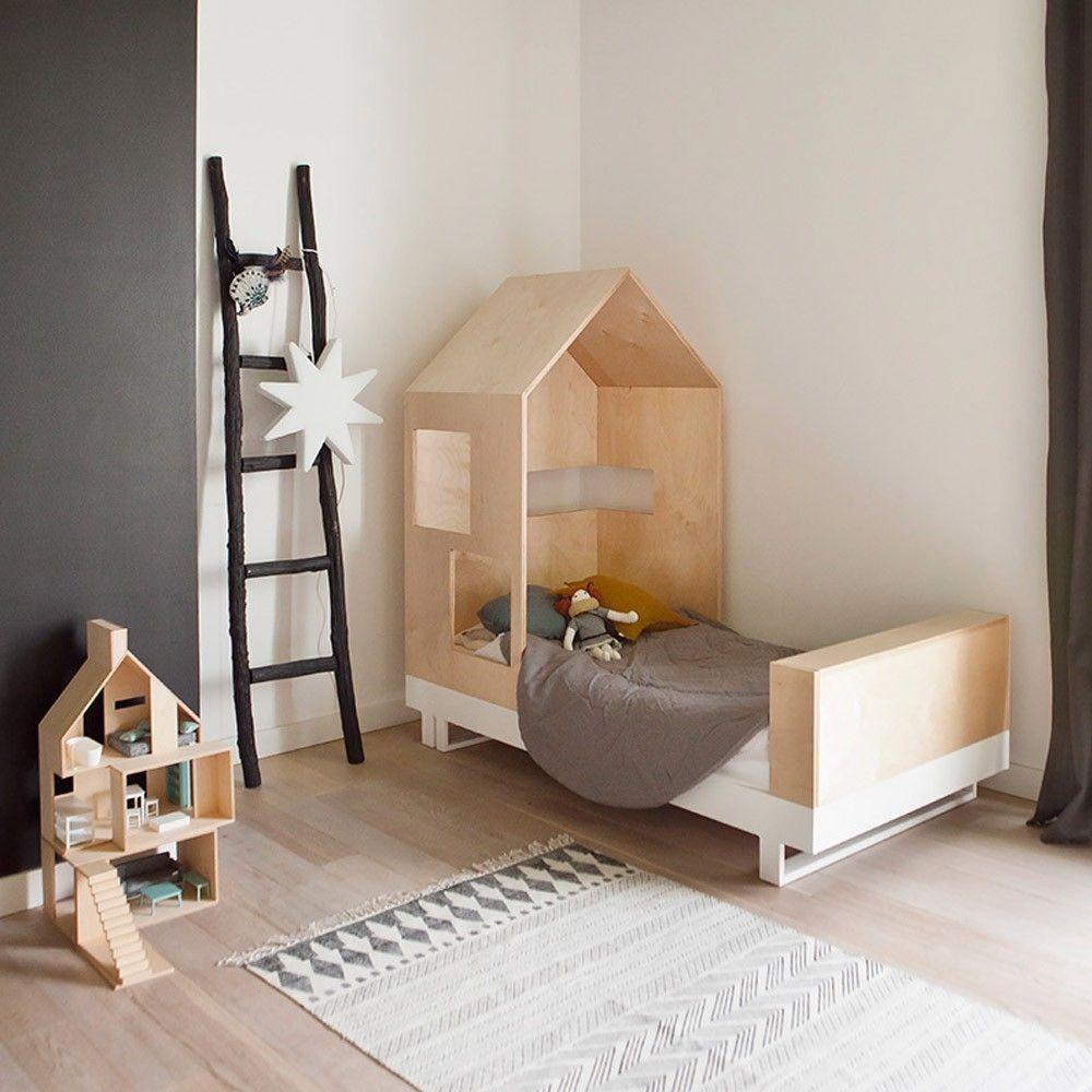 Junior Bett Hütte 80x160 cm Natur | Kinderzimmer, Jugendzimmer und ...