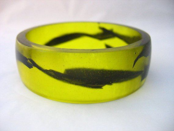 Neon yellow resin bangle bracelet jewelry  wide by TopazTurtle, $56.00