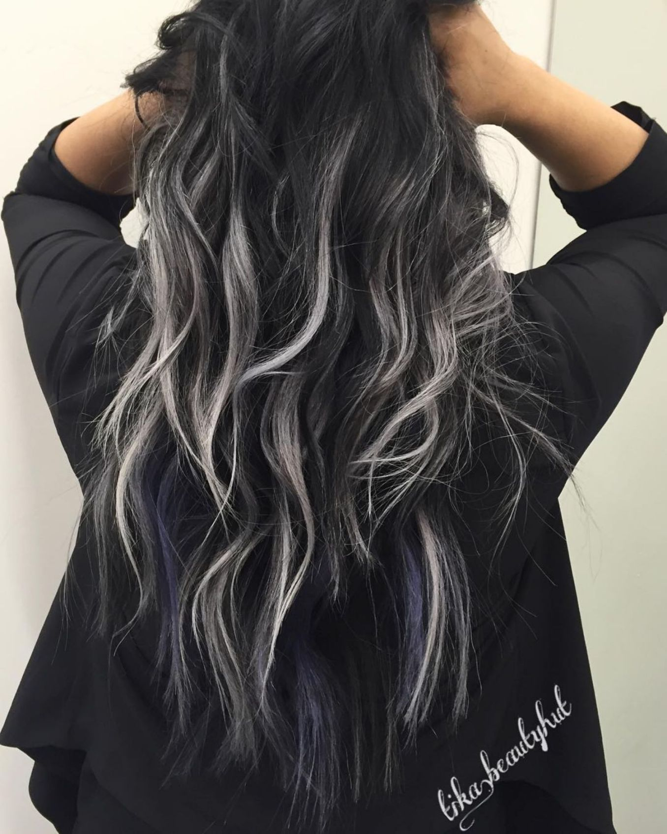 Muted Gray And Blue Highlights For Black Hair Grey Ombre Hair Hair Styles Curly Hair Styles