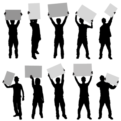 Silhouette Gang Holding Blank Signs Psd18931 Png 400 400 Vector Free Silhouette Vector Card Sketches