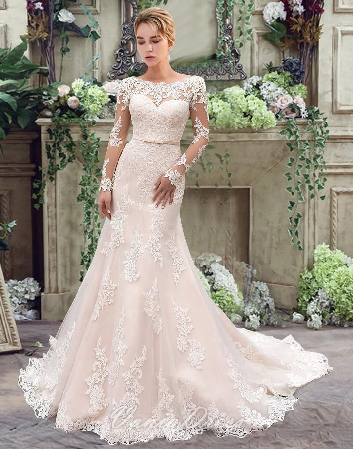 Sheath/Column Long Sleeve Lace Wedding Dress With Sash