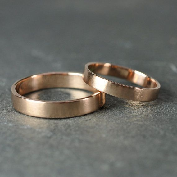 14K Rose Gold Wedding Band Set, Gold Wedding Rings, 3mm and 4mm, Matte Finish, Sea Babe Jewelry