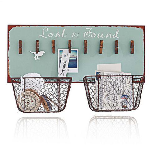 memoboard in t rkis mit w scheklammern und k rben zum aufbewahren von utensilien ideen. Black Bedroom Furniture Sets. Home Design Ideas
