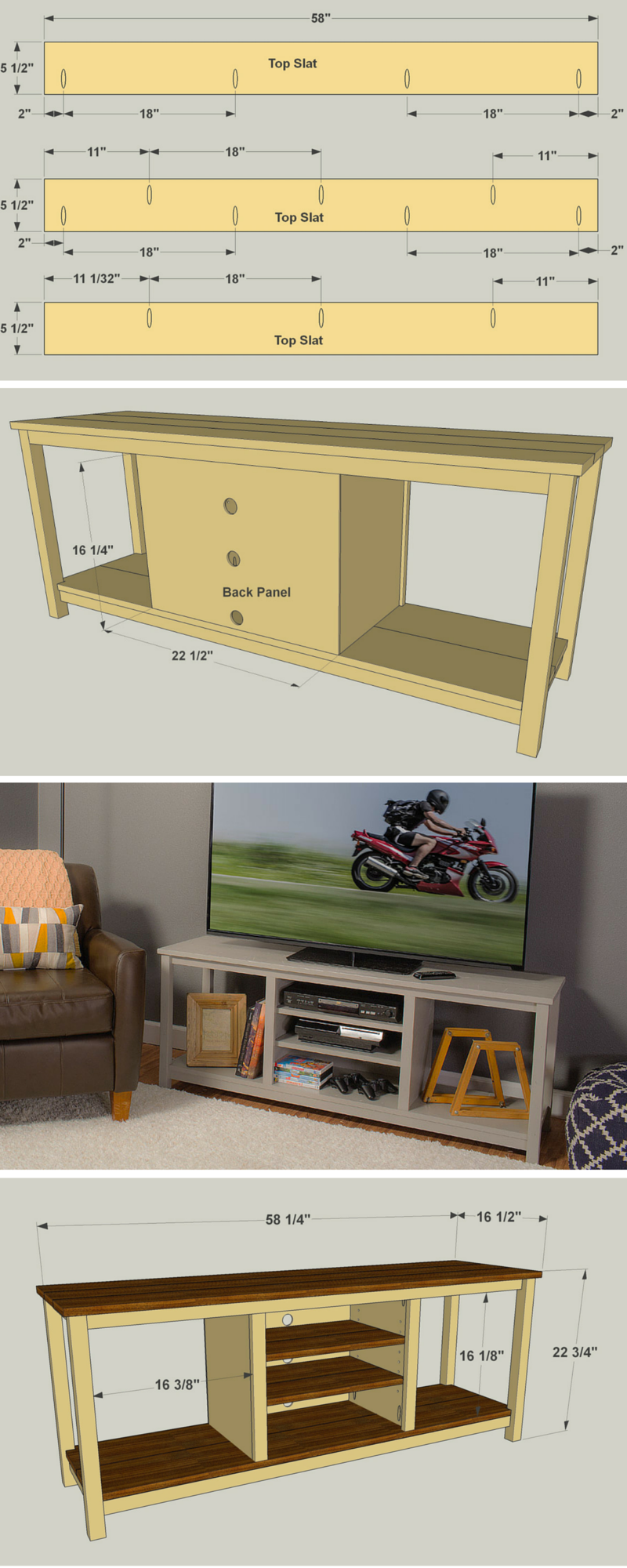Create An Attractive Home For Your Television With This Open Concept Stand That S Easy To Build It Can Accommod Woodworking Plans Tv Stand Diy Tv Stand Diy Tv