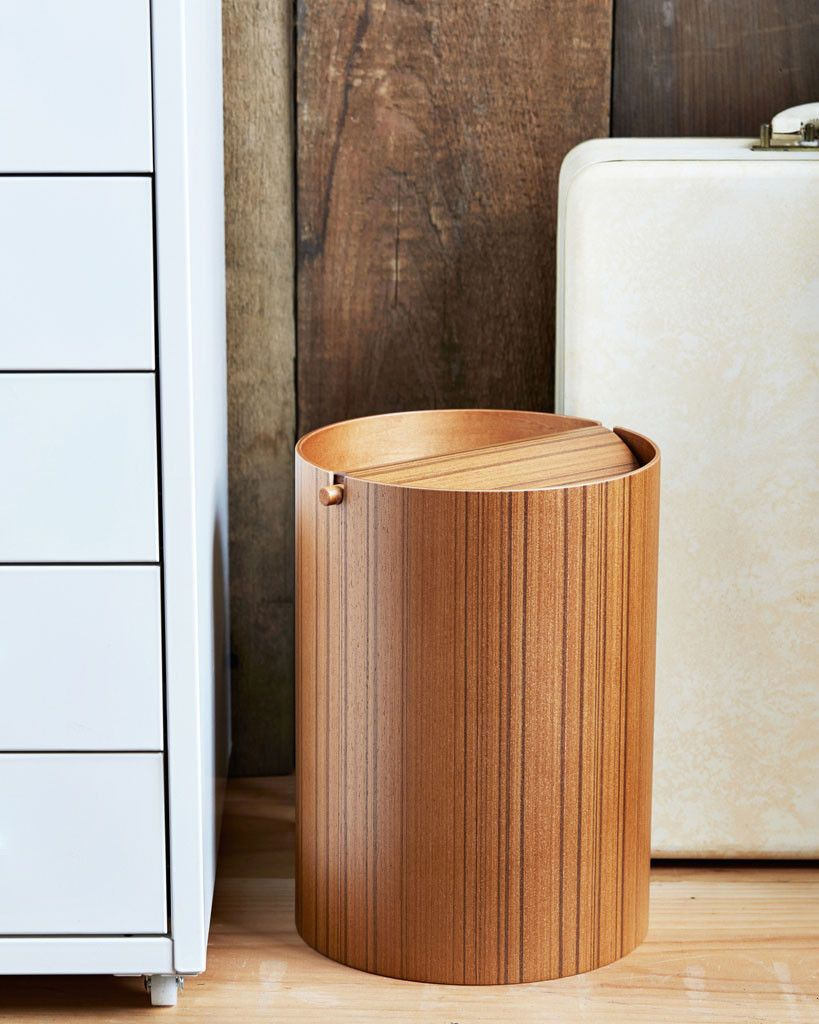 Wooden Wastebasket Ayous Paper Waste Basket With Lid  Small  Woods Cubicle And House