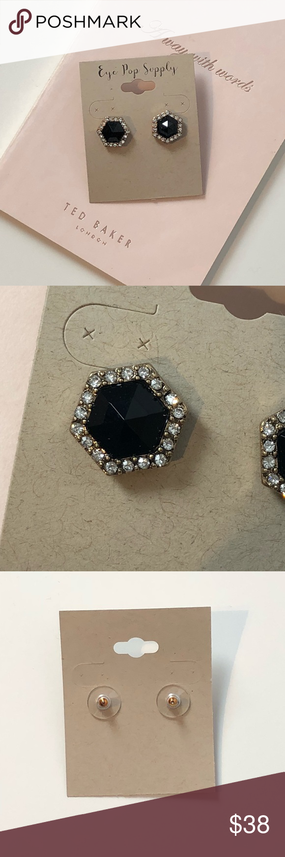 Black hexagon stud earrings nwt in my posh picks pinterest