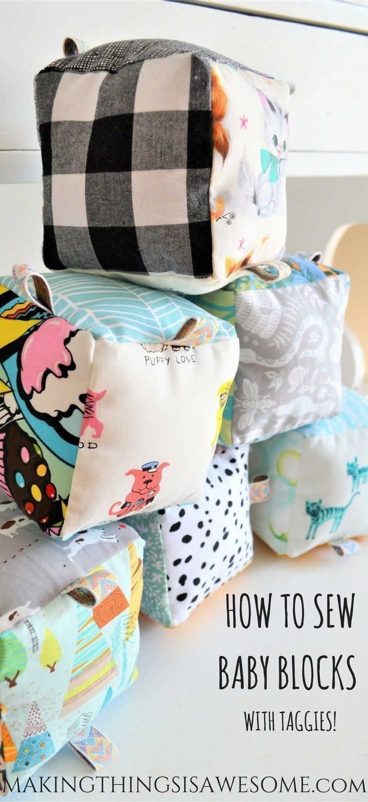 How to Sew Baby Blocks With Taggies! - Tutorial! -