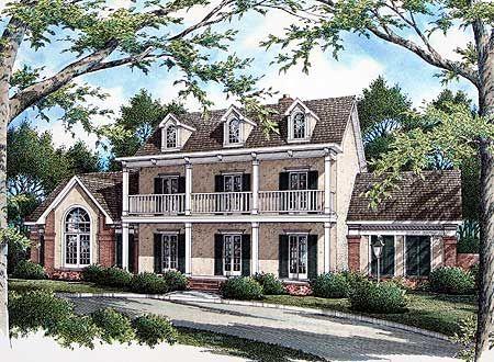 Plan 5579BR: Stately Plantation Style Design