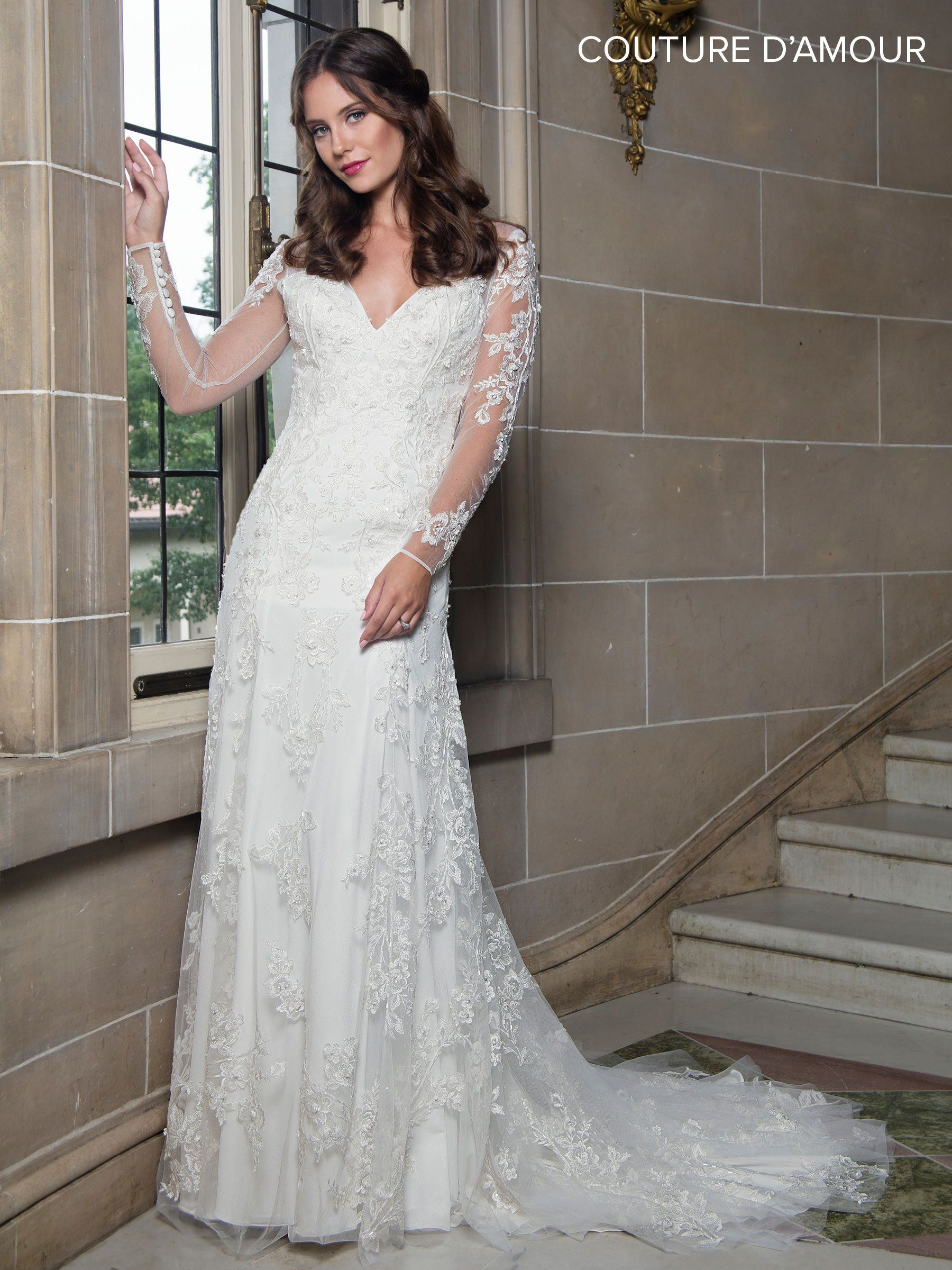 Long sleeve wedding dress with train by maryus bridal mb