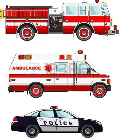 Ilustración detallada de camión de bomberos, policía y ambulancias ...
