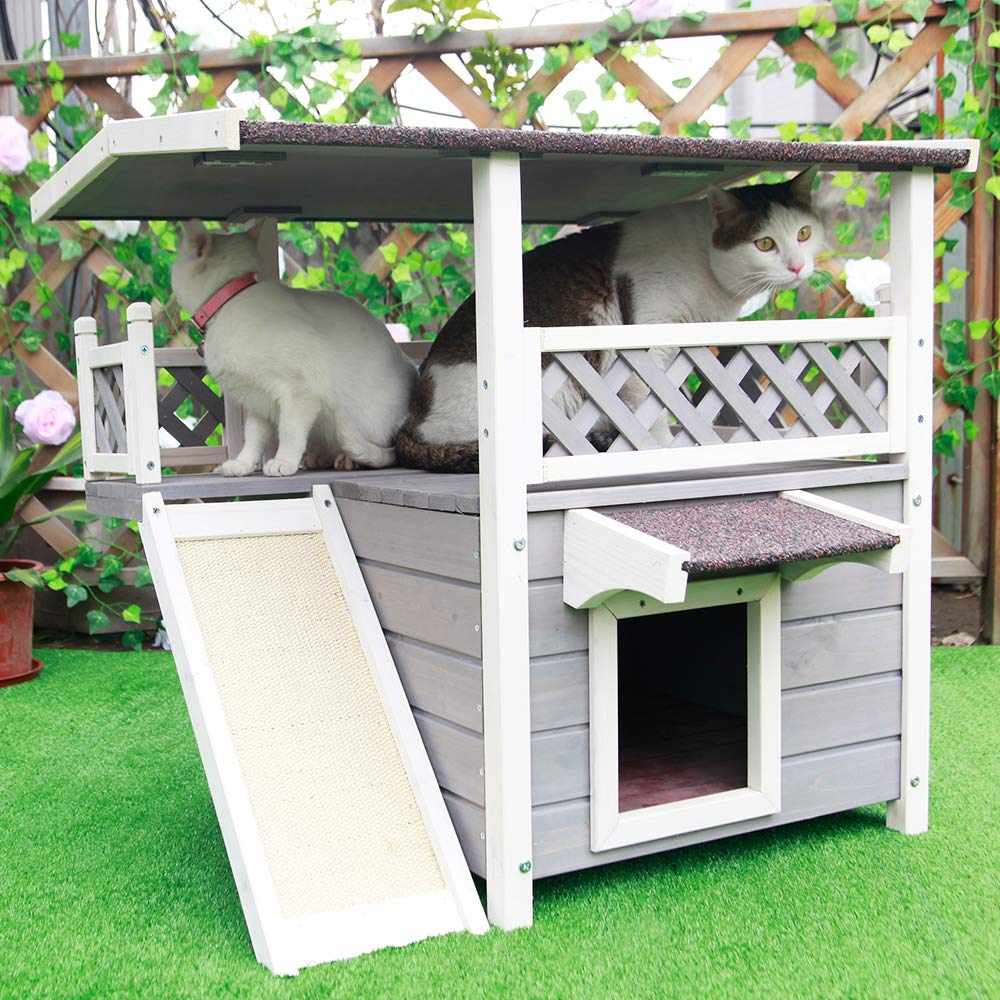 Petsfit Outdoor Cat House With Scratching Pad And Escape Door 1 Year Warranty Gateway Outdoor Cat House Cat Houses Indoor Outside Cat House