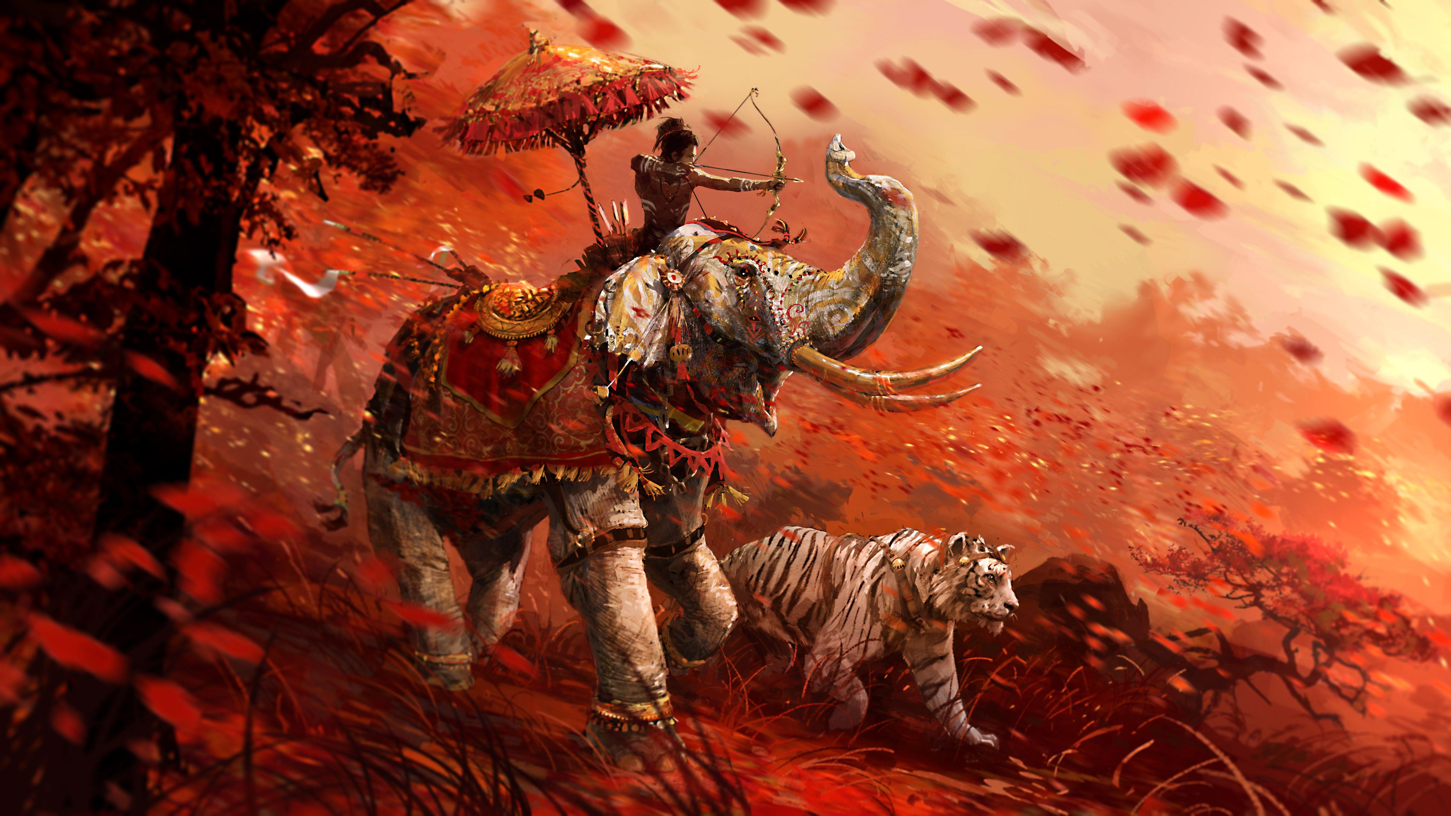 Far Cry 4 Wallpaper Elephant: Video Game Far Cry 4 Far Cry Tiger Elephant Wallpaper