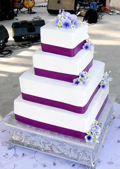 4 Level Square White Wedding Cake With Purple Bands And Lavender FlowersJPG