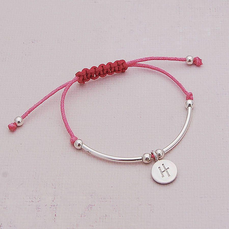 Girls silver personalised friendship bracelet jewely pinterest