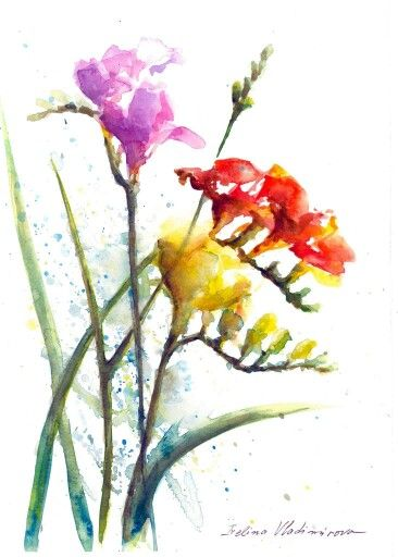 Freesias Flower Art Floral Watercolor Flower Painting