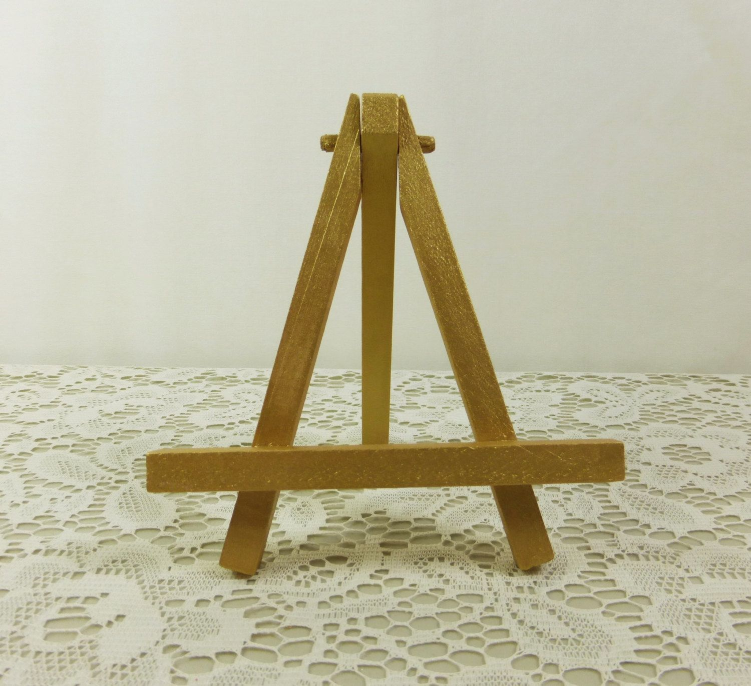 Small Gold Easel Painted Tabletop Display Miniature Wood For Canvas Place