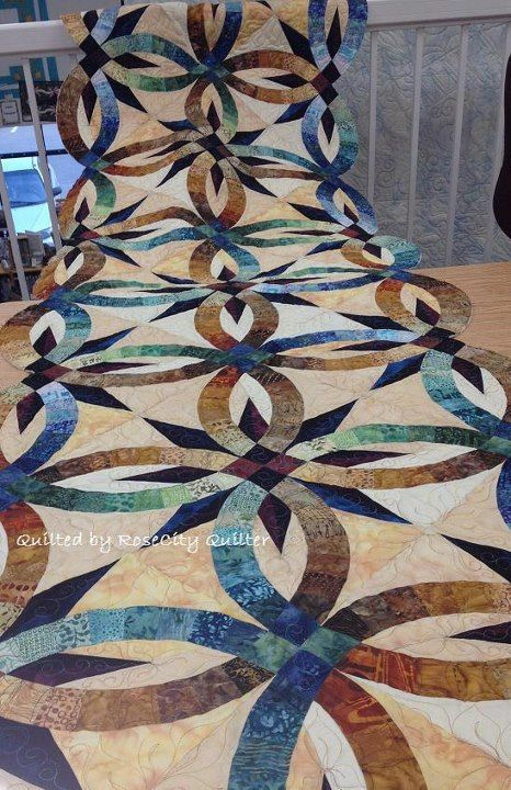 Bali Bed Runner ~ Quiltworx.com by Roger Kerr, Quilted by RoseCity Quilter, Ardelle Kerr