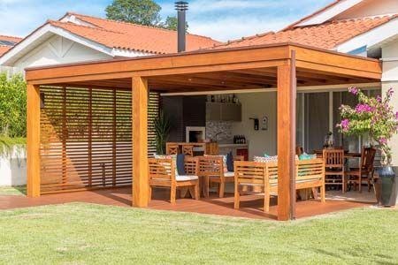 Pergolado com Cobertura - área externa, jardim, planta ...