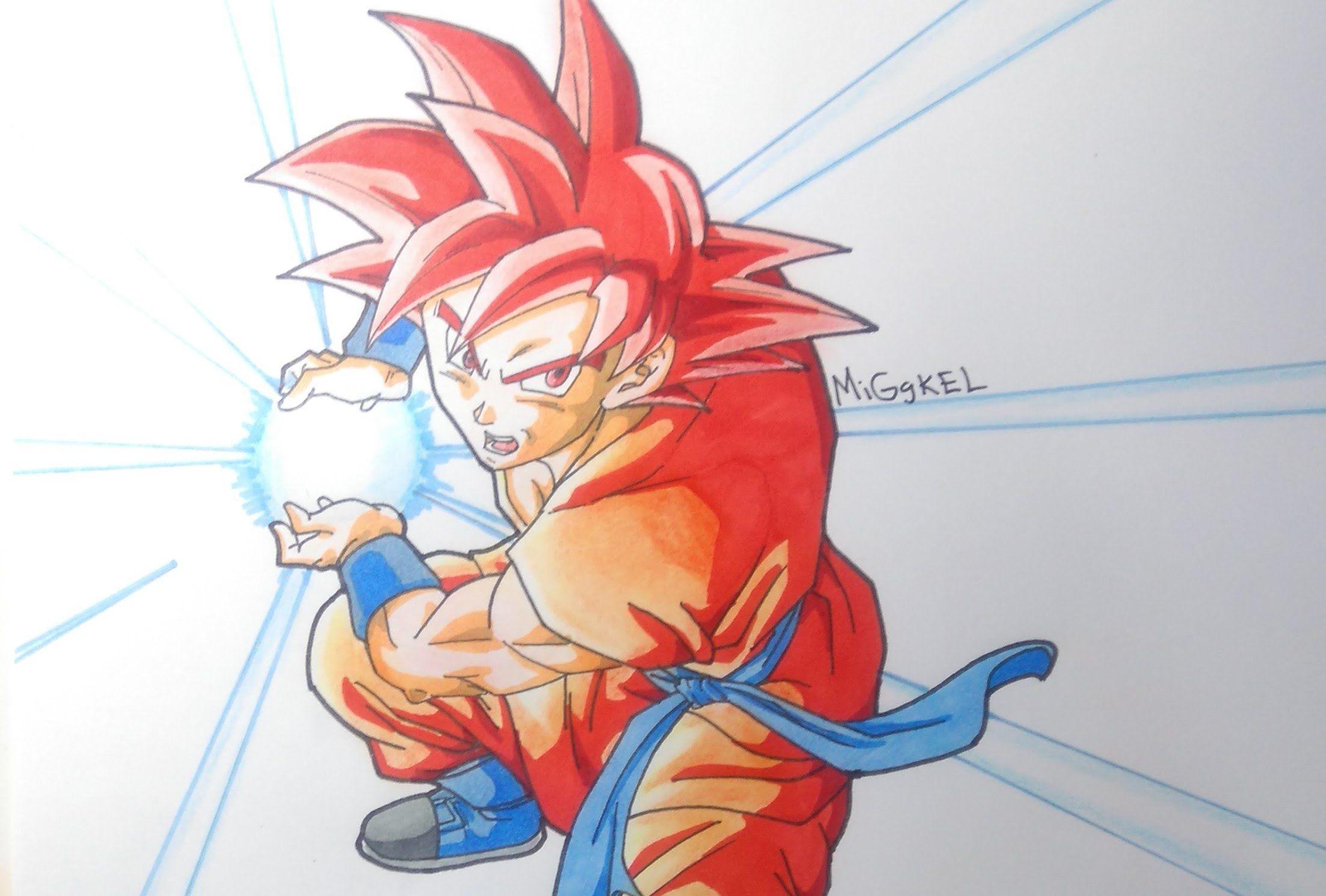Como Dibujar A Goku Super Sayayin: Dibujando A Goku Super Saiyan God Kame Hame Ha. Drawing