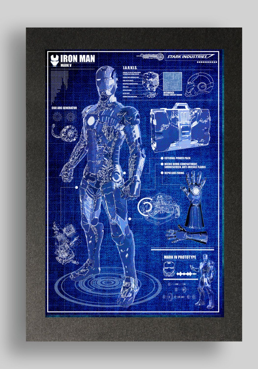 Iron man mark 5 suit blueprints 16x24 by ryanhuddle on etsy iron iron man mark 5 suit blueprints 16x24 by ryanhuddle on etsy malvernweather Images