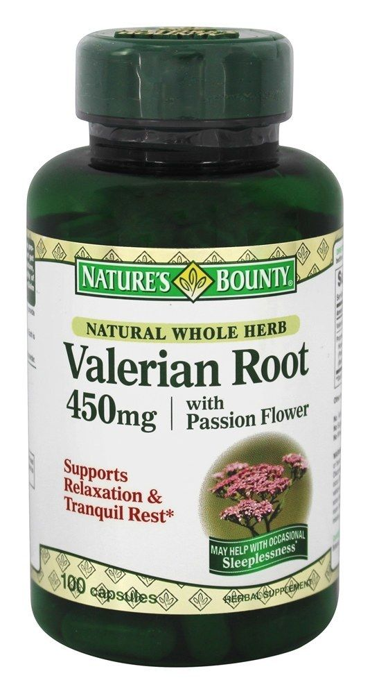 Natural Whole Herb Valerian Root 450 Mg With Passion Flower 100 Capsulesnature S Bounty Passion Flower Herbs Nature